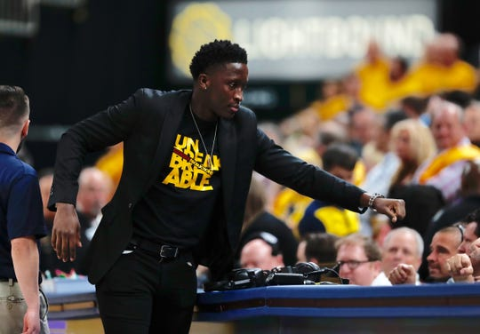 Victor Oladipo is front and center for the Indiana Pacers during player introductions before Game 4 against the Boston Celtics.