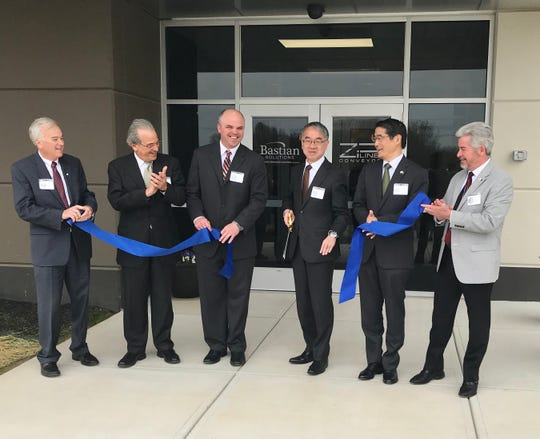 Westfield Mayor Andy Cook, Indiana Secretary of Commerce Jim Schellinger and Japanese Consulate General Naoki Ito joined Bastian Solutions officials and Toyota Advanced Logistics at the grand opening of Bastian Solutions in Westfield, Wednesday April 17, 2019.