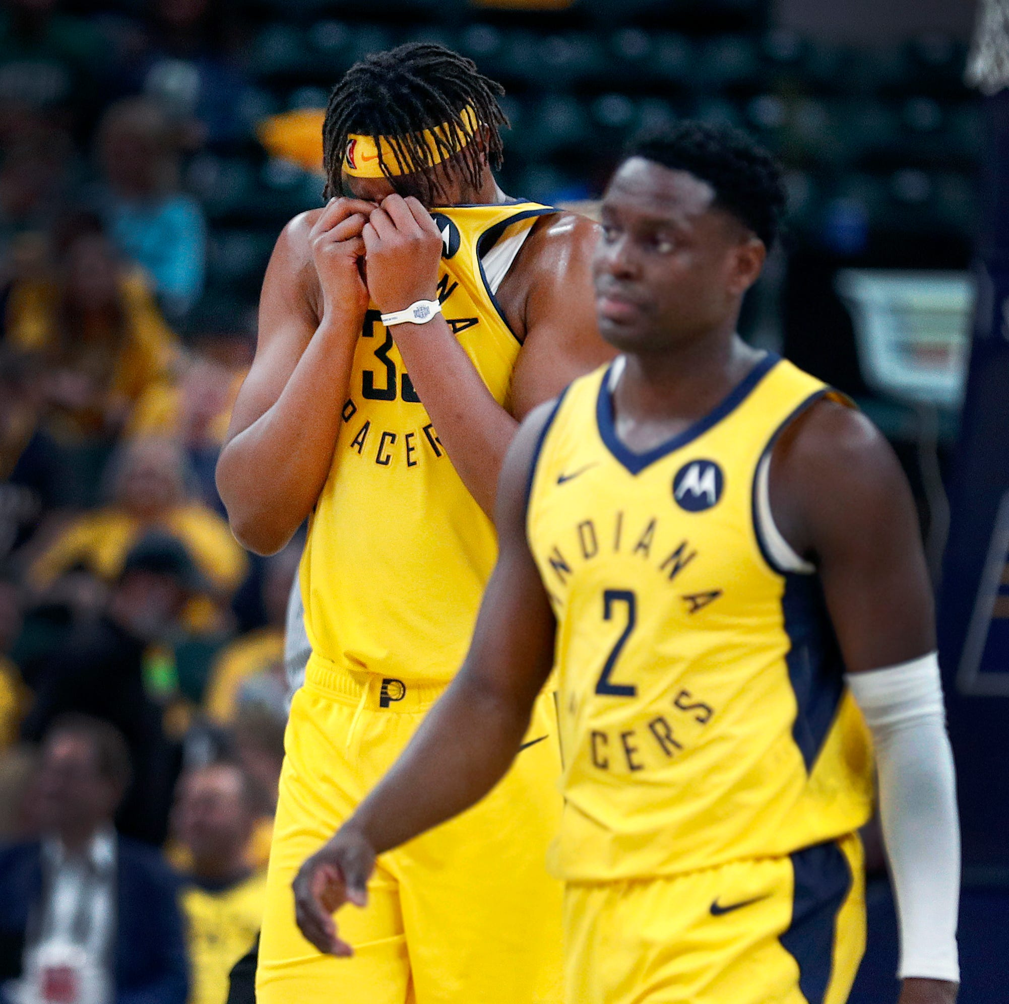 Indiana Pacers center Myles Turner (33) and...