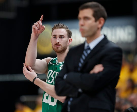 Boston Celtics forward Gordon Hayward (20) signals a teammate before checking into the game in the first half of their game at Bankers Life Fieldhouse on Sunday, April 21, 2019.
