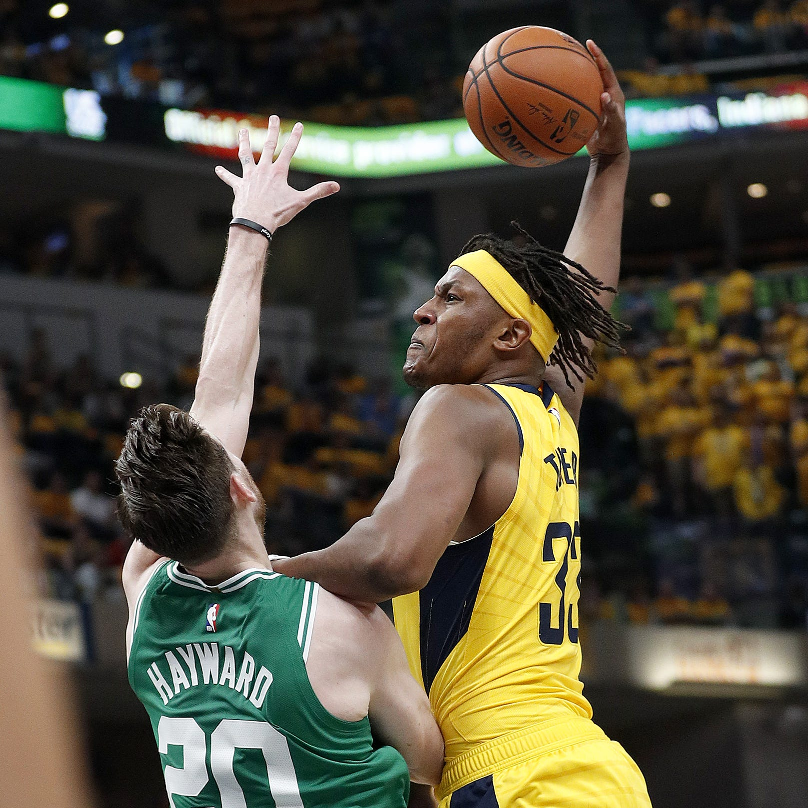 Watch Myles Turner put Gordon Hayward on a poster