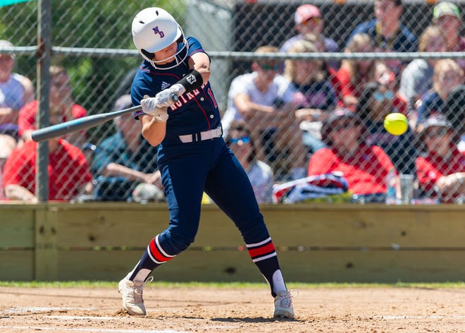 Maci Bergeron hits a home run as Notre Dame takes down Ascension softball to advance to the LHSAA State playoffs. Saturday, April 20, 2019.