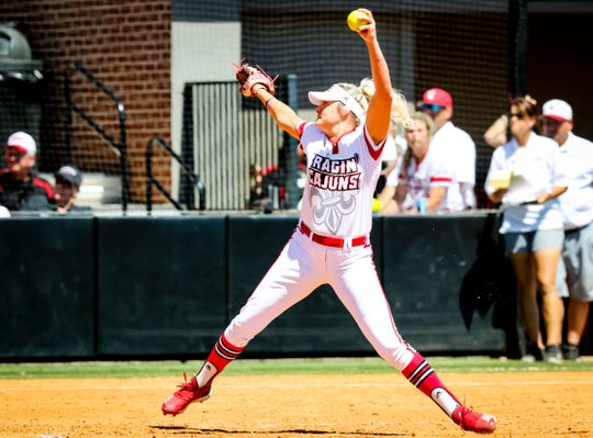 UL pitcher Alison Deville fires a pitch home during the final game of the series between the Ragin' Cajuns and Georgia State at Lamson Park in Lafayette Saturday, April 20, 2019.