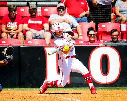 UL outfielder Lexie Comeaux connects for a walk-off home run during the final game of the series between the Ragin' Cajuns and Georgia State at Lamson Park in Lafayette Saturday, April 20, 2019.