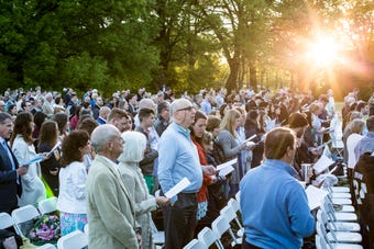 Hundreds gathered on Easter Sunday for the Second Presbyterian Church's sunrise service at Memphis Botanic Garden.