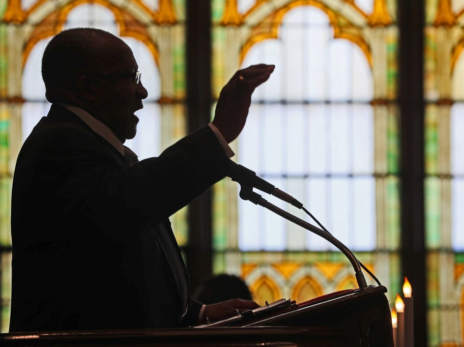 Pastor F.L. Crouther delivers his sermon during the Easter service.