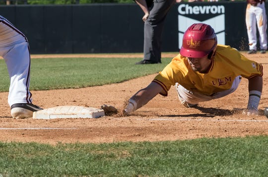 University of Louisiana at Monroe's Joey Jordan (5) slides to tag and stay safe during the game against University of Little Rock t Warhawk Field in Monroe, La. on April 20. ULM would fall 4-2 in the game.