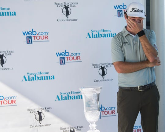 Lanto Griffin gets emotional as he talks about winning during the final round of the Robert Trent Jones Championship at the Capitol Hill Golf Course in Prattville, Ala., on Sunday, April 21, 2019.