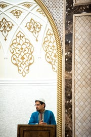 Rashed Fakhruddin delivers the sermon at the Islamic Center of Nashville Bellevue Mosque Friday, April 19, 2019, in Nashville, Tenn.