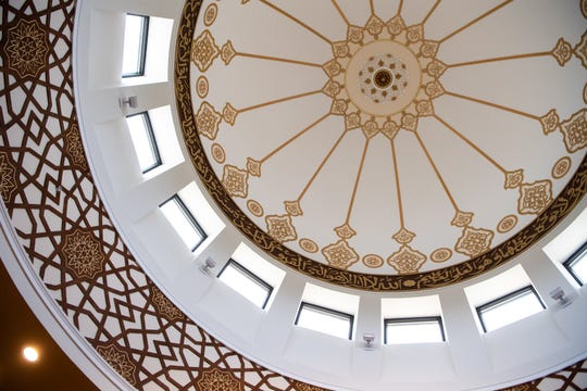 The dome is showcased in the center of the Islamic Center of Nashville Bellevue Mosque Friday, April 19, 2019, in Nashville, Tenn.