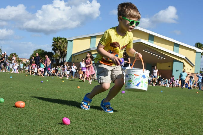"Adam Valentina, 3, uses his bucket to collect candy-filled plastic eggs. Lee County Parks & Recreation sponsored the Estero EGGstravaganza Saturday, April 20, 2019, at the Estero Recreation Center. There were age-restricted egg hunts and an ""EGGstraspecial"" event inside for kids with special needs."
