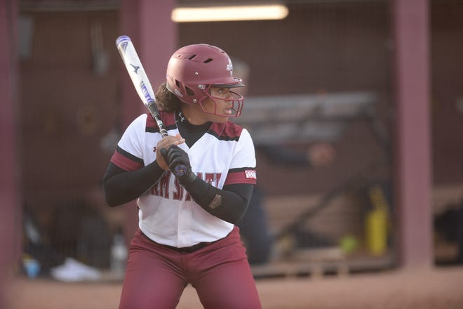 Kayla Bowen, pictured here in March, hit a home run to give NM State a 4-0 victory in the second game of a doubleheader Saturday, April 20, 2019 .