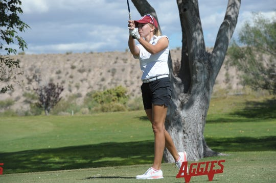Dominique Galloway, pictured here at the Aggie Invitational, won the individual championship after posting a 69-73-72—214 (+1) over three rounds at the 2019 WAC Championship.