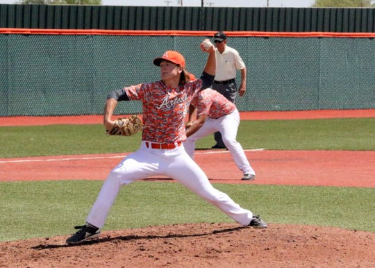 Kaden Chumbley pitches during Game 1 of Saturday's doubleheader against Portales. He threw a complete game and Artesia won, 1-0.