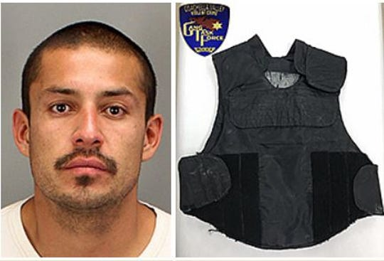 Juan Carlos Ocaranza is suspected of possessing a ballistic vest similar to the one shown here, according to the Riverside County Sheriff's Department.