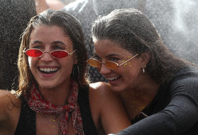Fans enjoy the music at the Do Lab at the Coachella Valley Music and Arts Festival in Indio, April 19, 2019.