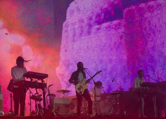 Tame Impala performs on the main stage at Coachella Valley Music and Arts Festival in Indio, Calif. on Sat. April 20, 2019.