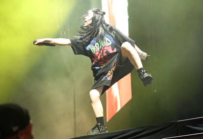 Billie Eilish performs at the Coachella Valley Music and Arts Festival in Indio, April 20, 2019.