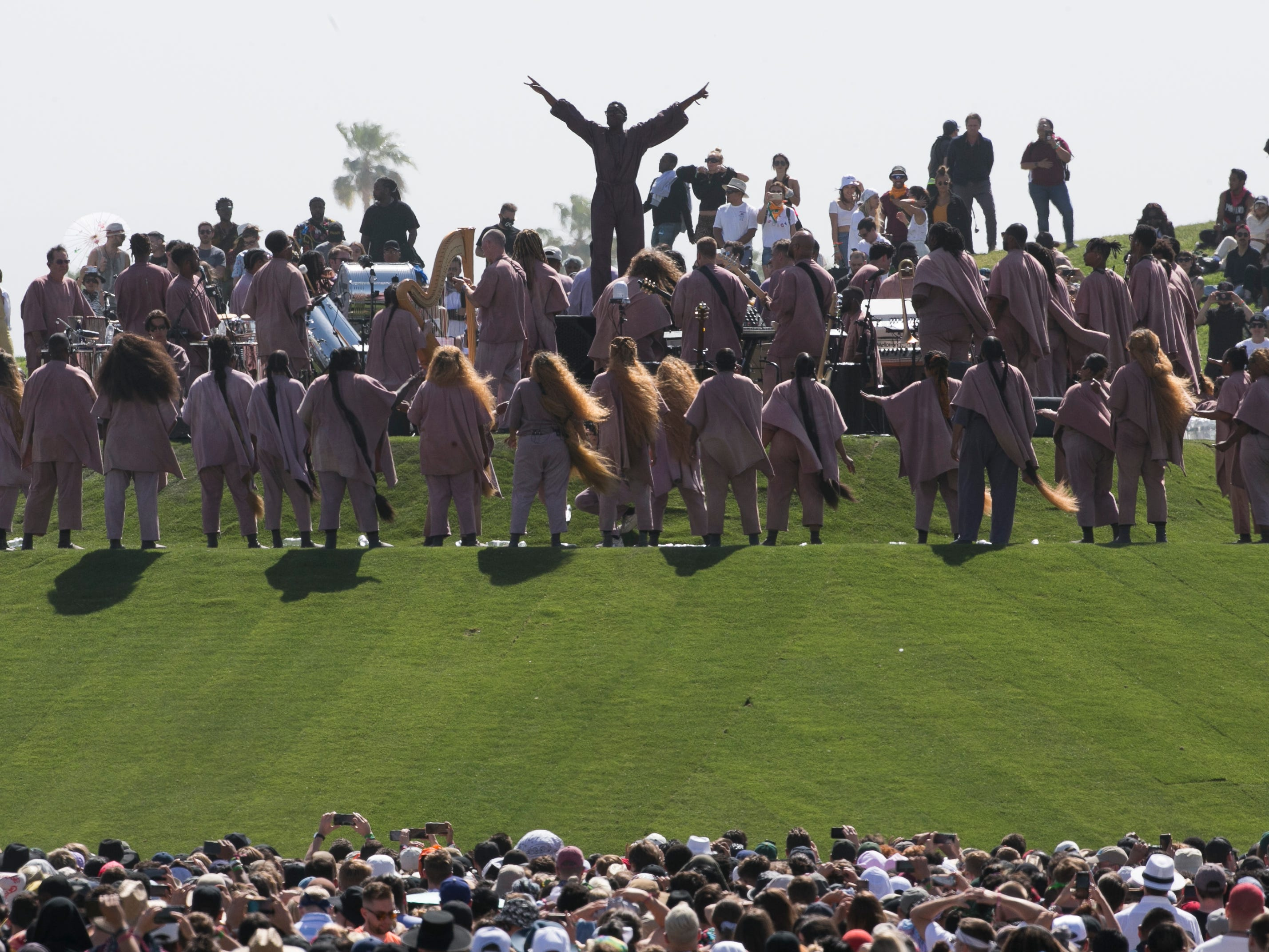 Kanye West's Easter Sunday Service is performed at the Coachella Valley Music and Arts Festival in Indio, Calif. on Sun. April 21, 2019. The performance could be heard and seen from outside the festival grounds.