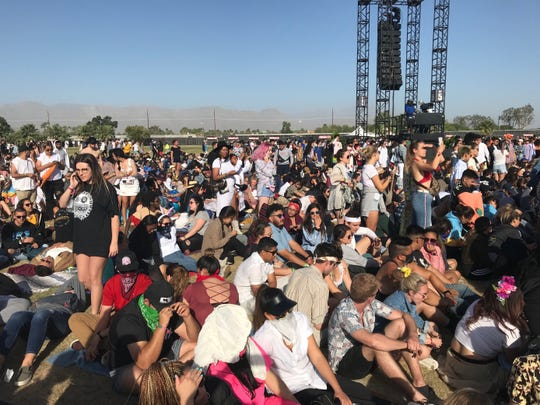 Festivalgoers await Kanye West's Sunday Service at the Coachella Valley Music and Arts Festival on Sunday, April 21, 2019.
