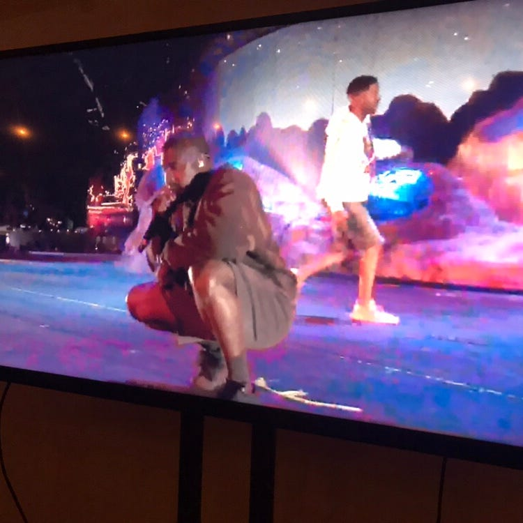 Kanye West makes surprise early appearance at Coachella during Kid Cudi set