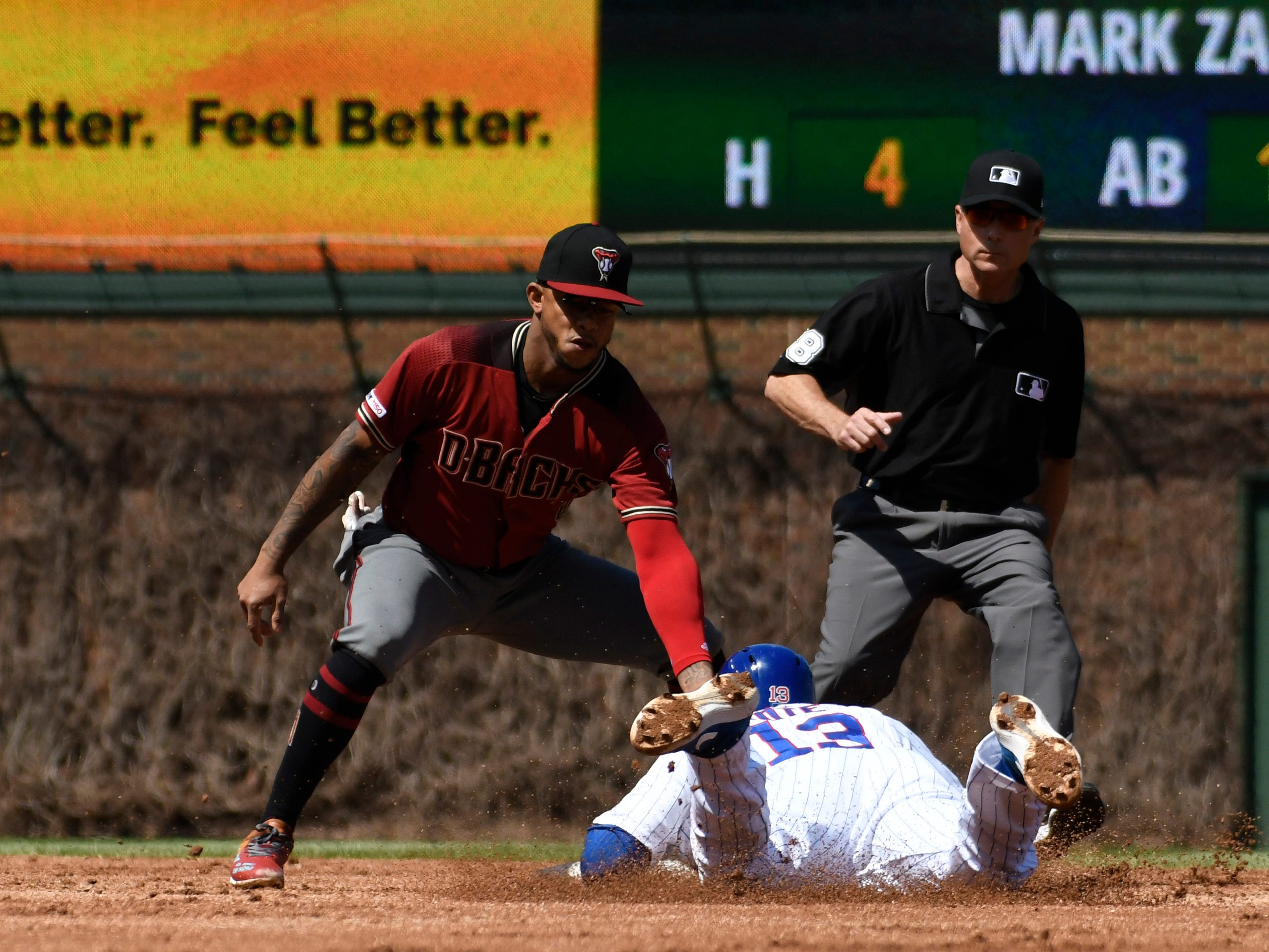 Diamondbacks shortstop Ketel Marte tags out Cubs third baseman David Bote as he attempted to steal second base during the second inning of a game April 21 at Wrigley Field.