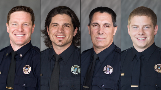 From left: Capt. Hunter Clare, Engineer Justin Lopez, firefighter Matt Cottini and firefighter Jake Ciulla.