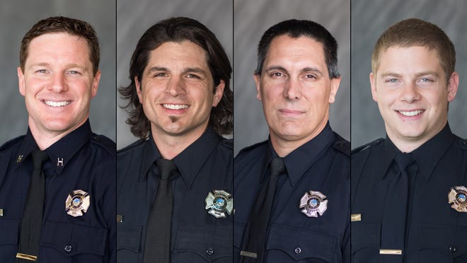From left: Capt. Hunter Clare, Engineer Justin Lopez, firefighter Matt Cottini and firefighter Jake Ciulla.