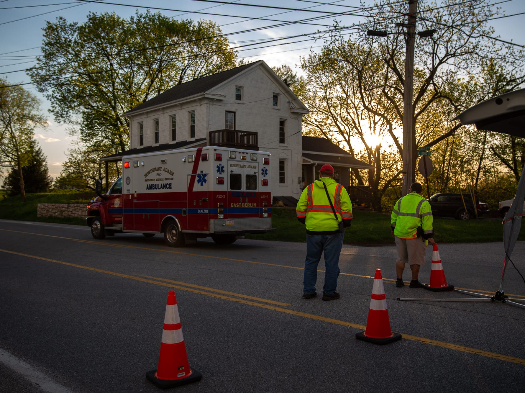 An ambulance departs the scene of a fatal crash on the 7300 block of Lincoln Highway, Saturday, April 20, 2019, in Paradise Township.