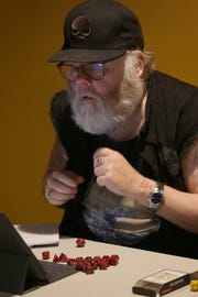 Doug Luberts playing D&D at Geeky Teas in Burbank, Calif.