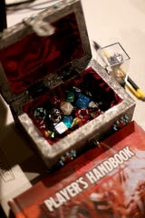 A D&D dice box at Geeky Teas in Burbank, Calif.