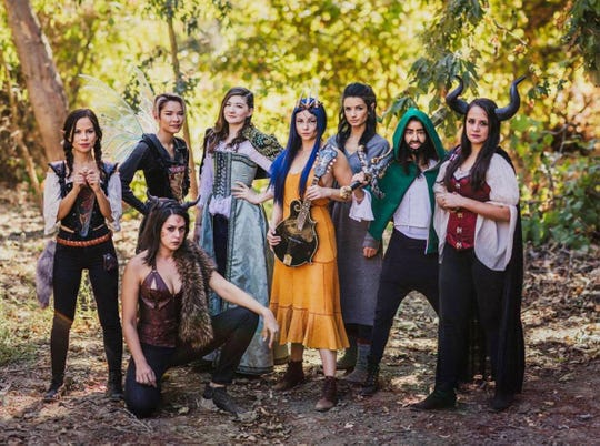 """Stars of """"Girls Guts Glory,"""" a Dungeons and Dragons web series, from left: Kimberly Hidalgo, Erika Fermina, Kelen Coleman (kneeling), Rachel Seeley, Allie Gonino, Alice Greczyn, Sujata Day and Kelly Lynne D'Angelo. Early episodes were met with harsh comments: """"Like ... 'There's no way they actually play. No one plays D&D who looks like that,'"""" Fermina recalls."""