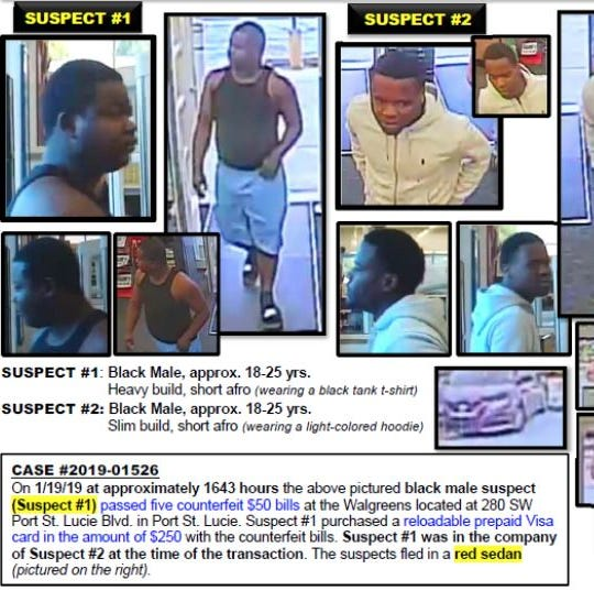 Port St. Lucie police looking for 2 men who may have passed counterfeit money at Walgreens