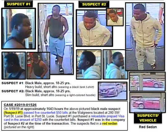Port St. Lucie police are looking for two men suspected of passing counterfeit %40 bills.