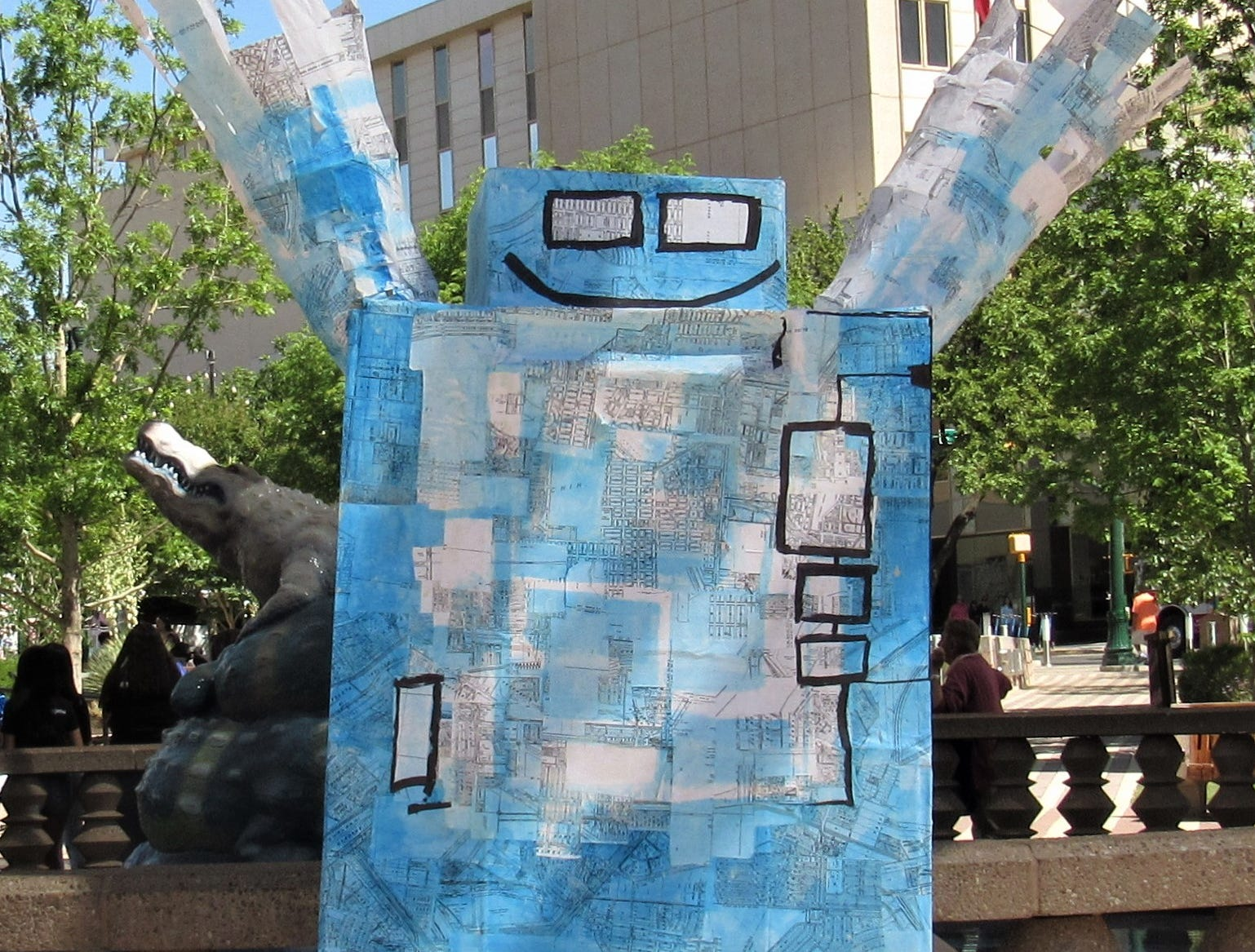 Art made from recycled products were on display. The city of El Paso's Environmental Services Department held the Earth Day celebration Saturday, April 20, 2019, at San Jacinto Plaza.