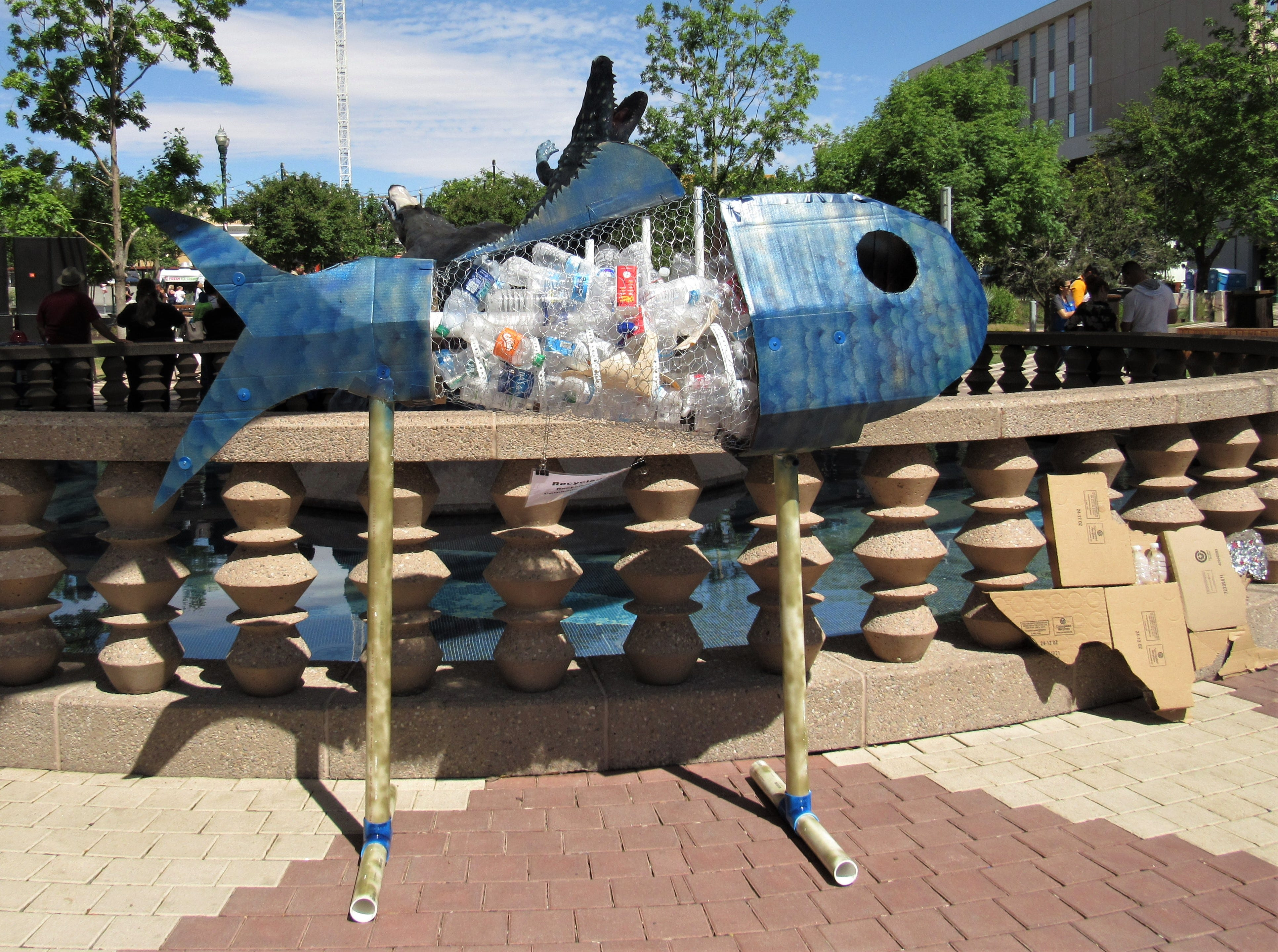 Recycled art showed the threat plastic and other trash pose. The city of El Paso's Environmental Services Department held the Earth Day celebration Saturday, April 20, 2019, at San Jacinto Plaza.