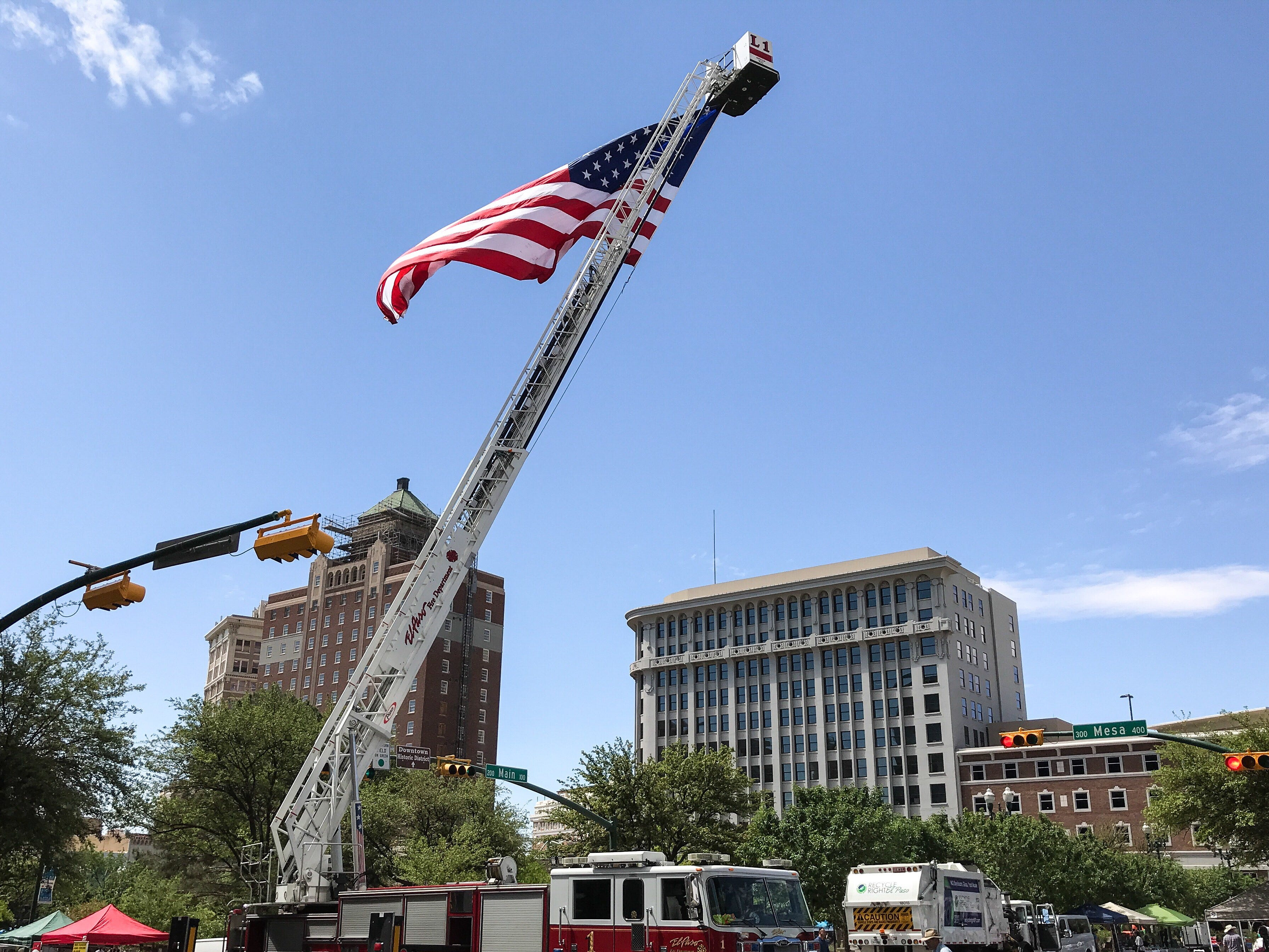 A U.S. flag flew over Earth Day celebrations Saturday, April 20, 2019, in San Jacinto Plaza. The city of El Paso's Environmental Services Department held the celebration, which offered environmental lessons and family fun.
