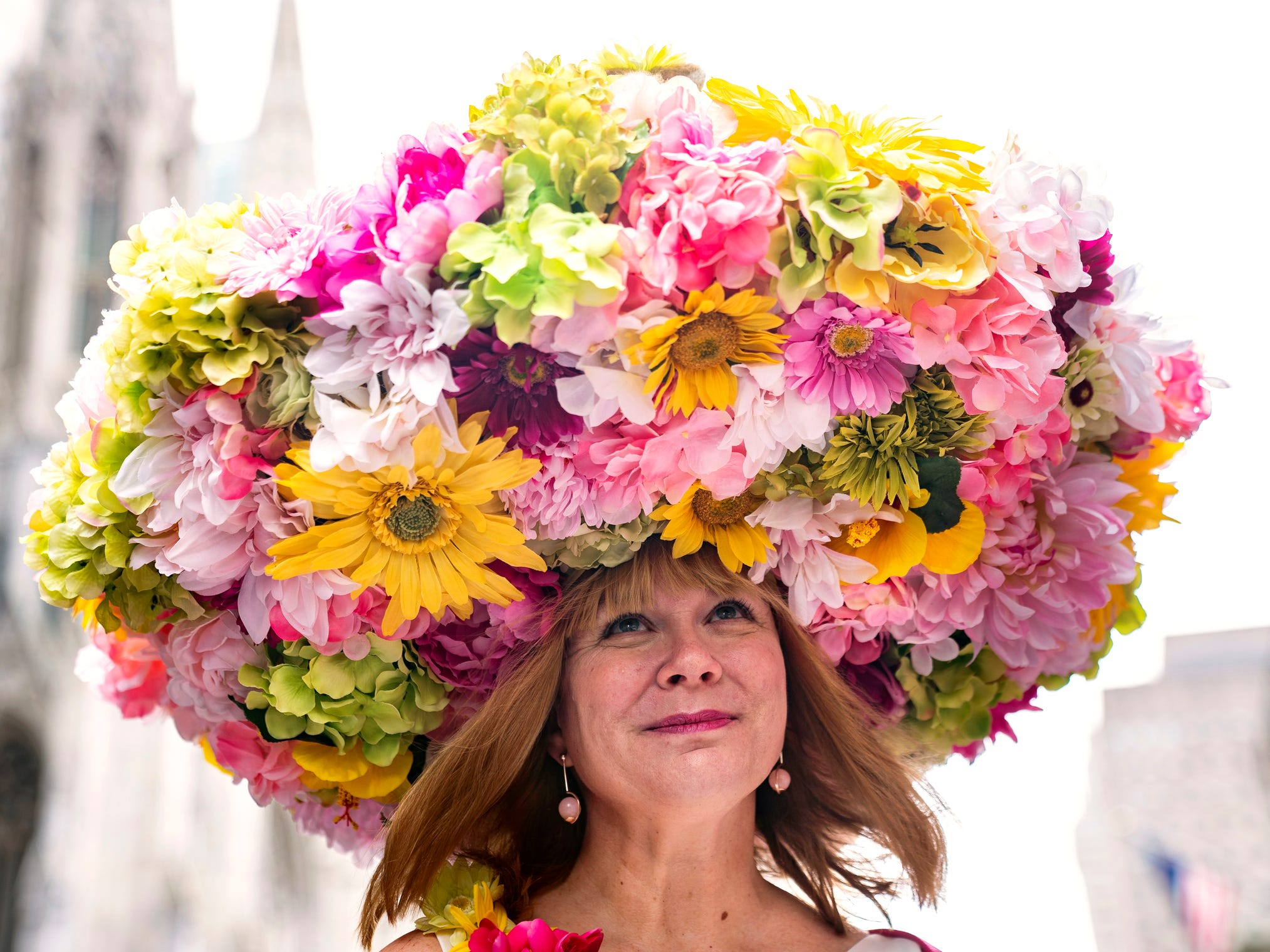 A participant marches during the Easter Parade and Bonnet Festival  in New York on on April 21, 2019.