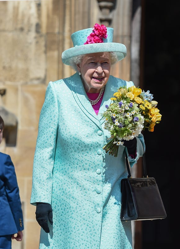 Queen Elizabeth II departs the Easter Sunday service at St George's Chapel on April 21, 2019, in Windsor, England.