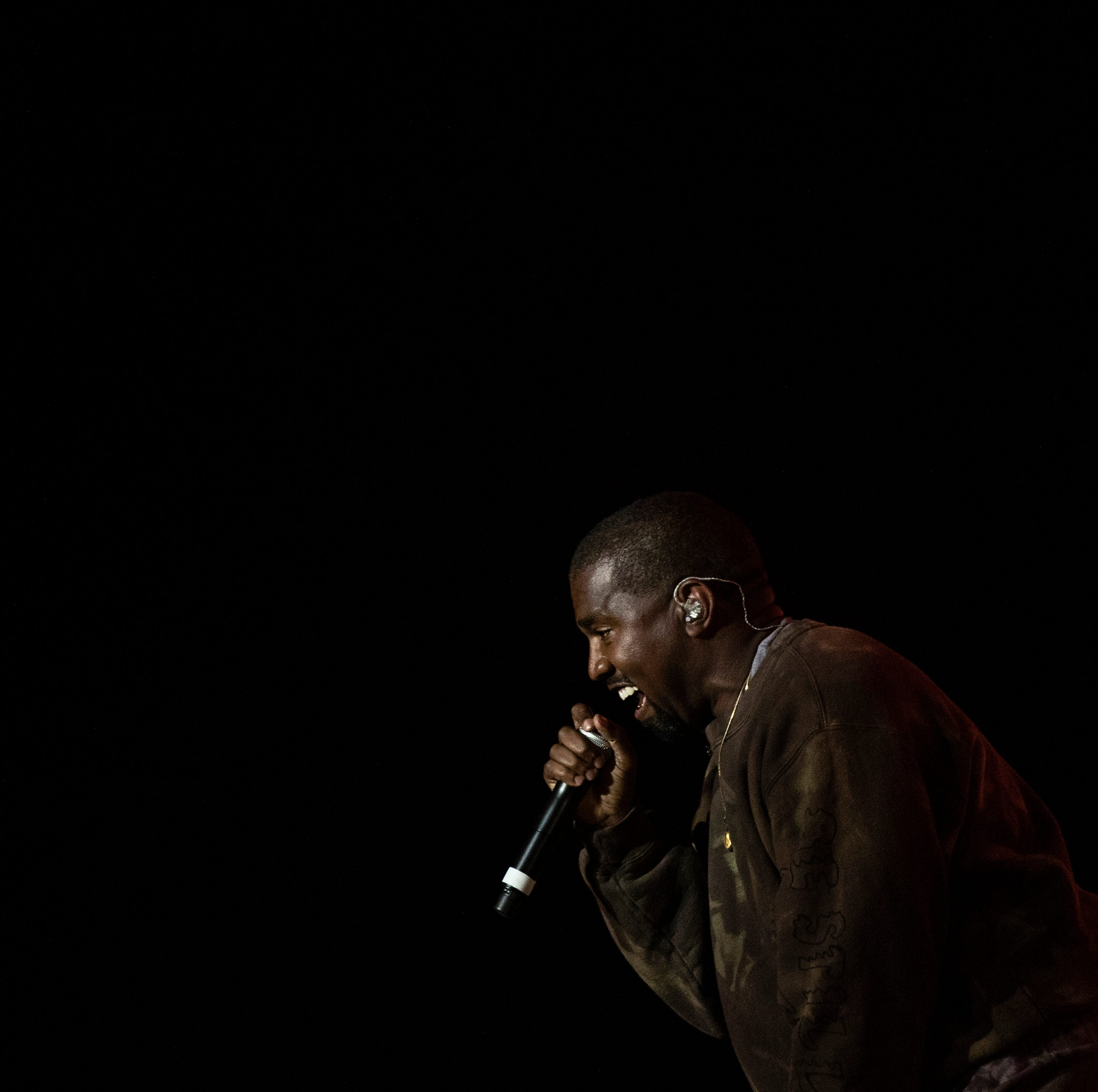 Kanye West performs as a surprise guest of Kid Cudi during the Coachella Valley Music and Arts Festival in Indio near Palm Spring, California, USA, late 20 April 2019.