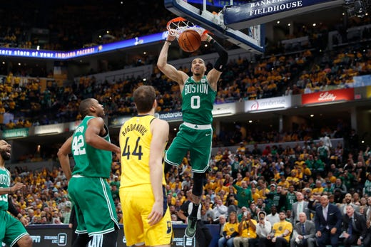 April 21: Celtics forward Jayson Tatum dunks in front of  Pacers forward Bojan Bogdanovic (44) during Game 4. The Celtics swept the Pacers in the first-round series.