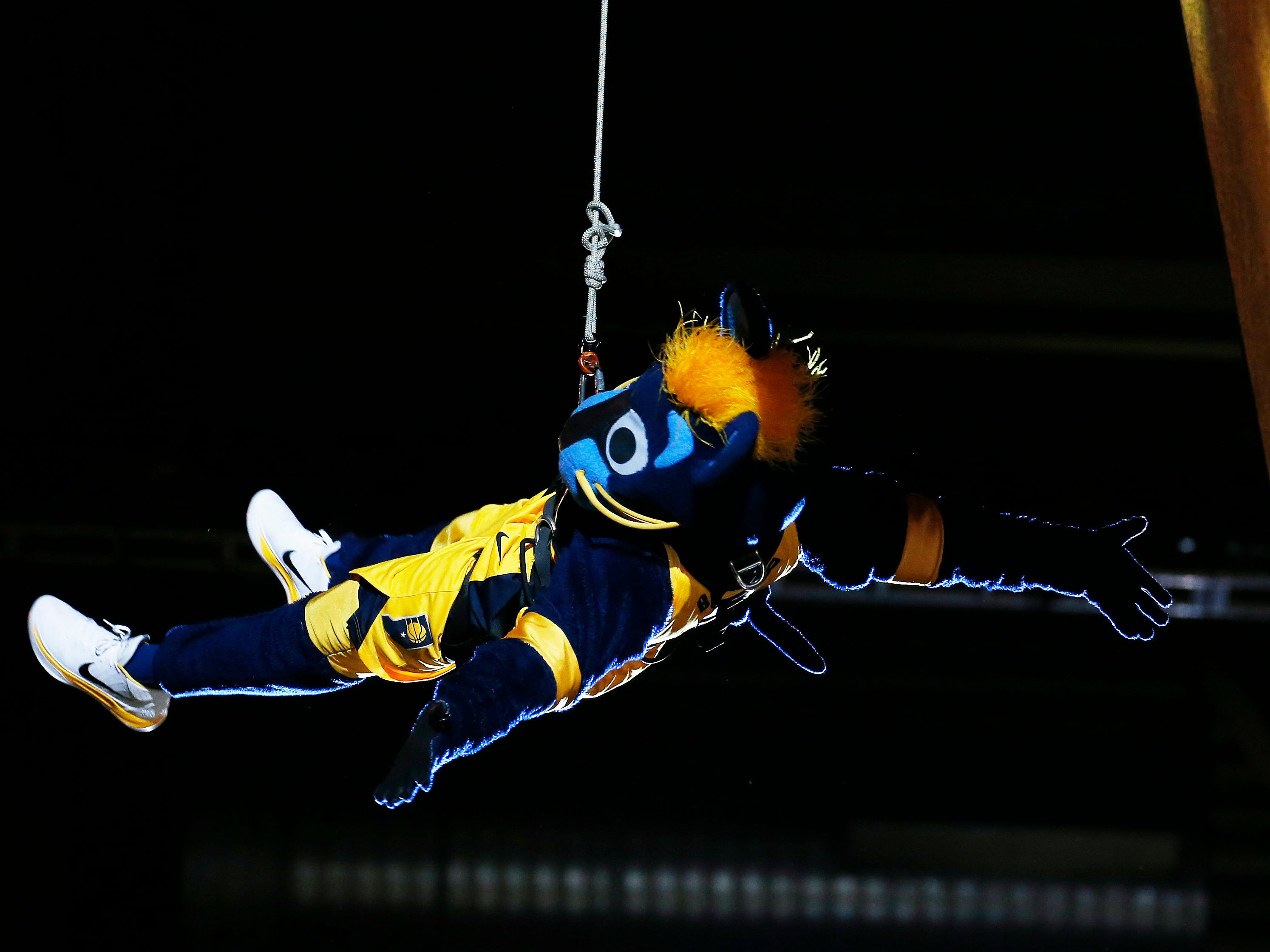 April 21: Pacers mascot Boomer repels from the ceiling of Bankers Life Fieldhouse during Game 4 against the Celtics.