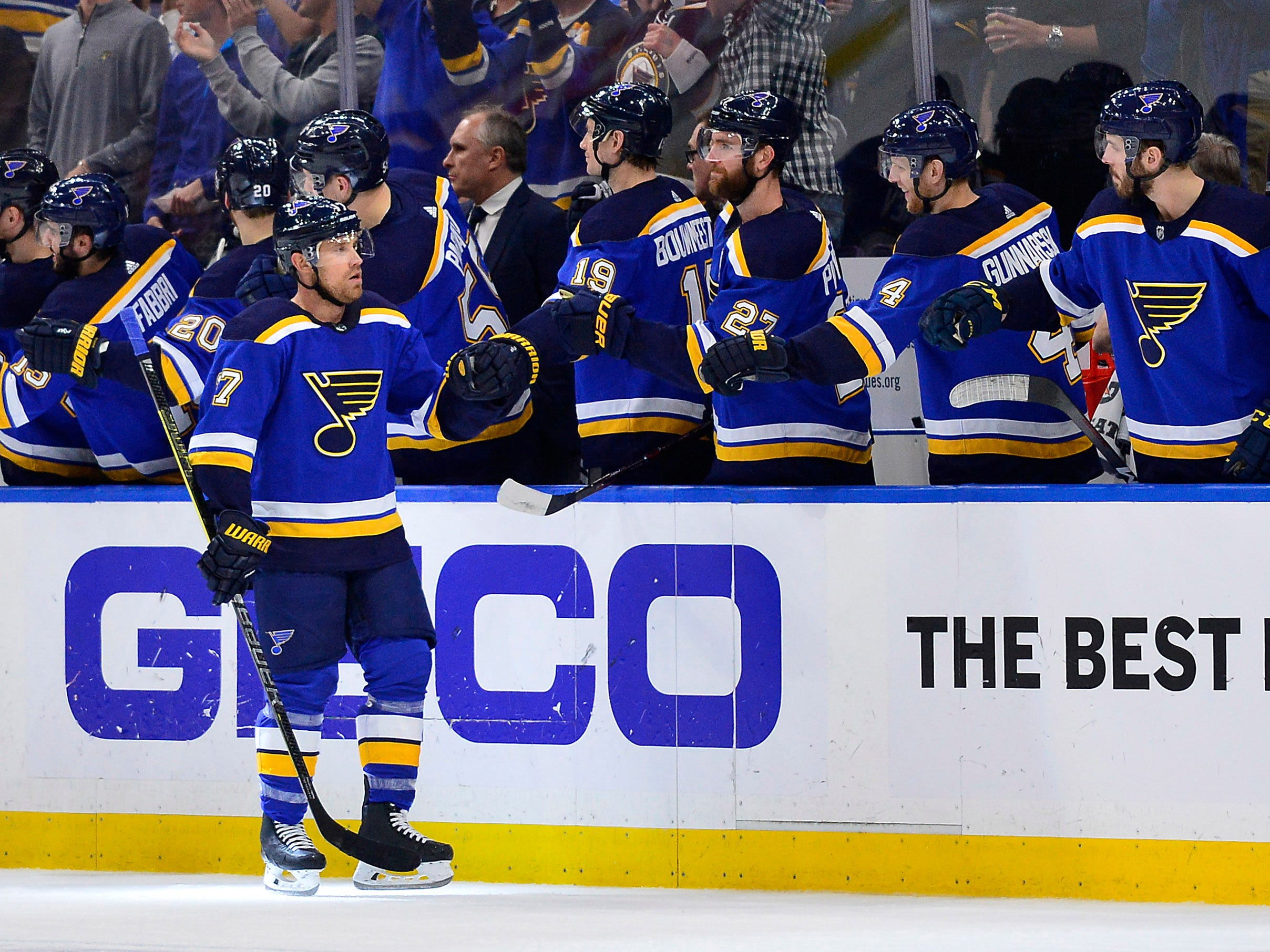 First round: St. Louis Blues left wing Jaden Schwartz (17) is congratulated by teammates after scoring his second of three goals in Game 6 to eliminate the Winnepeg Jets from the playoffs.