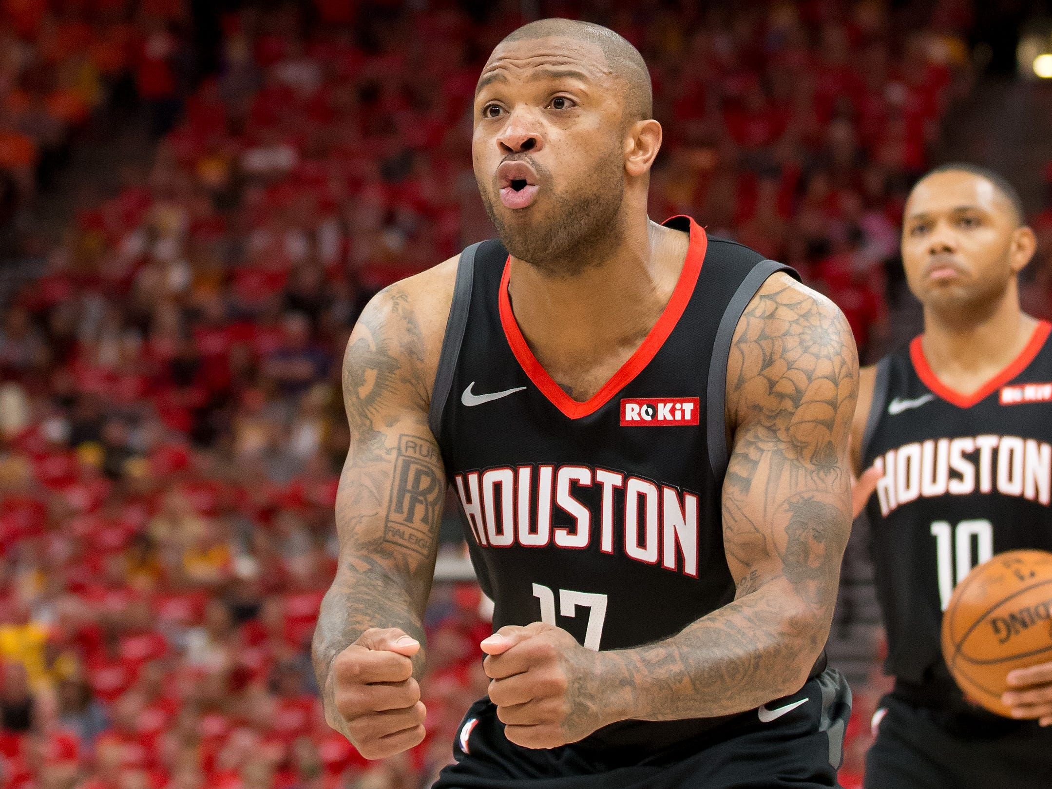 April 20: Rockets forward P.J. Tucker can't believe the call during Game 3 against the Jazz.