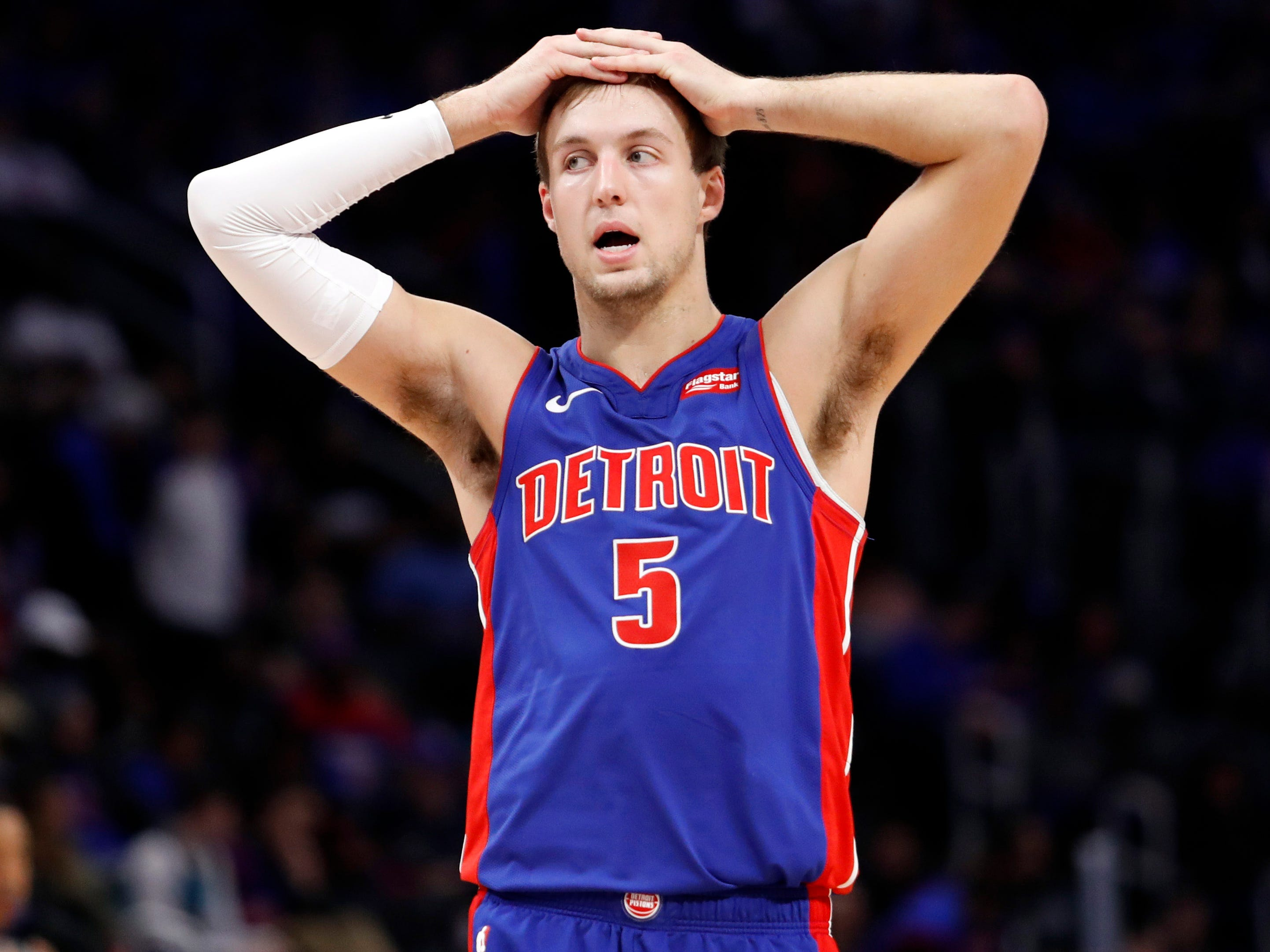 April 20: A resigned Luke Kennard during the fourth quarter of the Pistons' loss to the Bucks in Game 3.