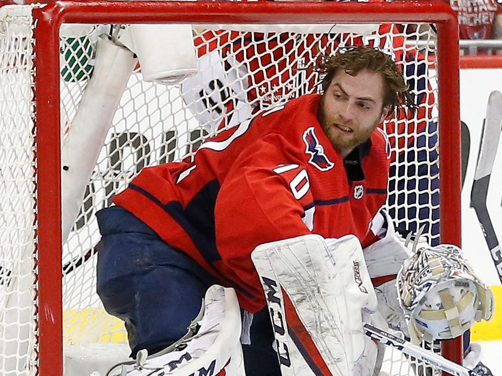 First round: Washington Capitals goaltender Braden Holtby (70) follows the puck after having his helmet knocked off during Game 5. The Capitals routed the Carolina Hurricanes 6-0.