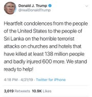 Trump mistakenly said millions had died in the Sri Lanka Easter explosions