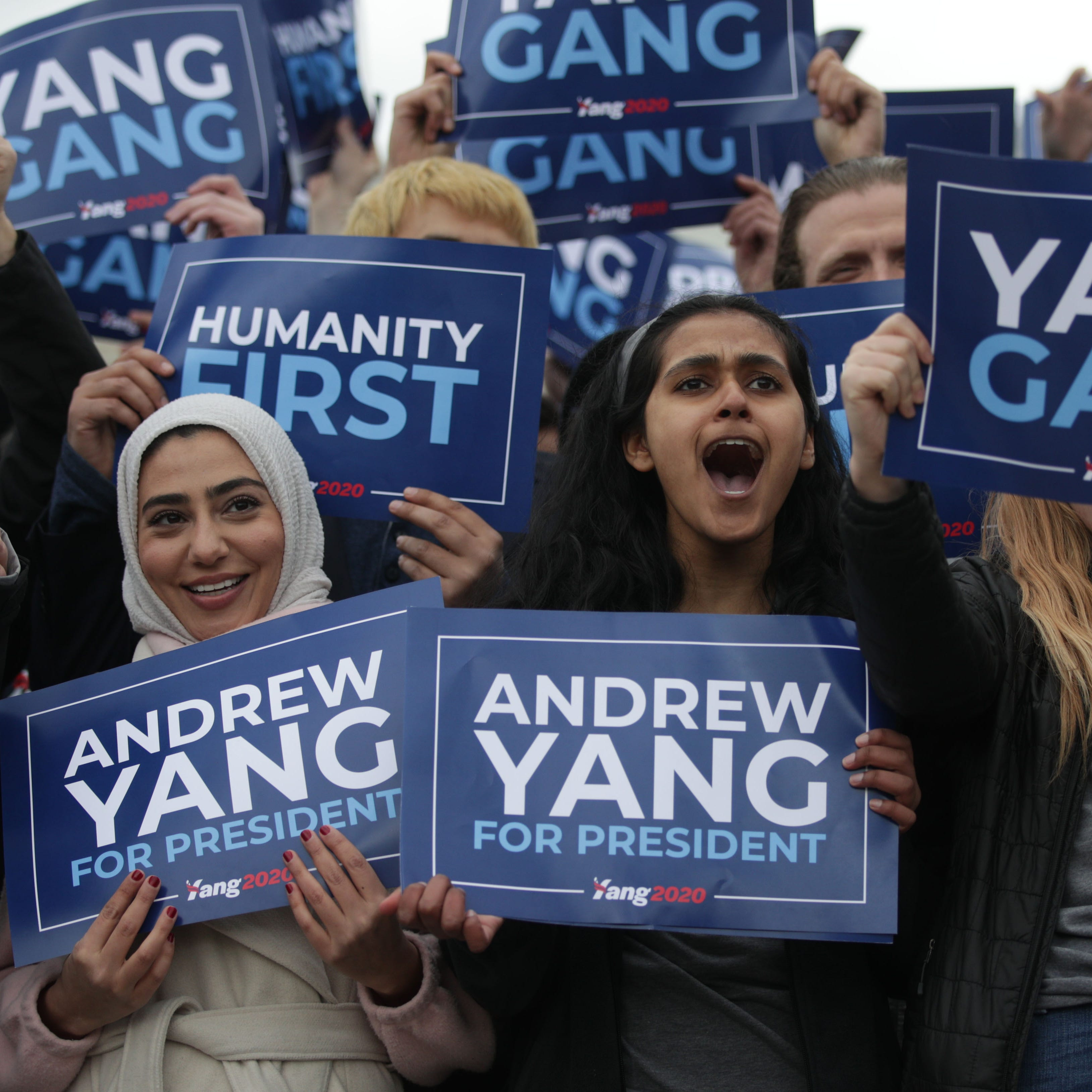 Andrew Yang supporters at the Lincoln Memorial in...