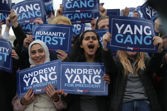 Andrew Yang supporters at the Lincoln Memorial in Washington, D.C., on April 15, 2019.