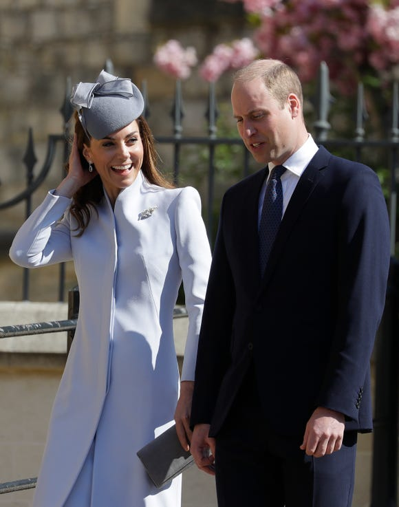 Britain's Prince William and Duchess Kate attend the Easter Mattins Service at St. George's Chapel, at Windsor Castle in England on April 21, 2019.